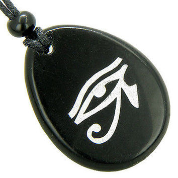 Magic Eye of Horus Amulet Black Onyx Word Stone Lucky Necklace