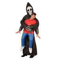 Grim Reaper Scary Suit Inflatable Illusion Skull Adult Halloween Costumes for Women Men Cheap Ghost Skeleton Fancy Dress