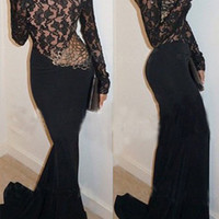 Women's Fashion Prom Dress Backless Long Sleeve One Piece Dress [9324540164]