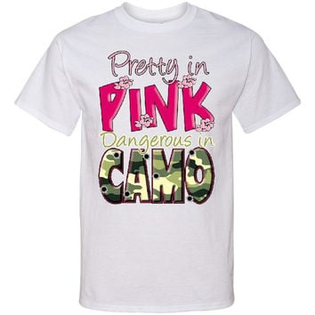 PRETTY in PINK Dangerous in CAMO Screen Print T Shirt Camouflage Screenprint Tee...Free Shipping!!