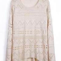 Beige Geometric Eyelet Knit Sweater for Women
