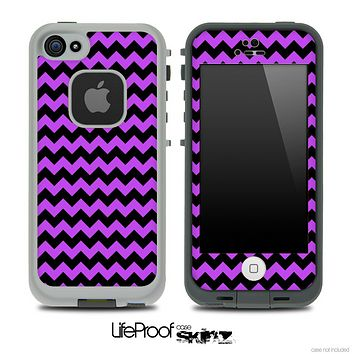 V4 Chevron Pattern Black and Purple Skin for the iPhone 5 or 4/4s LifeProof Case