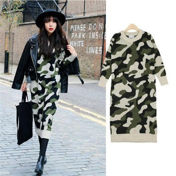 PEAPUNT 2016 Autumn New Fashion Women Camouflage Dresses O-Neck Three Quarter Sleeve Knee-Length Straight Girl's Casual Sweater Dress