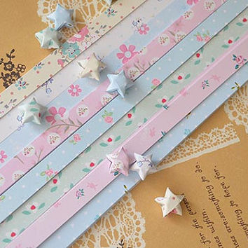 Origami Lucky Star Paper Strips Colorful Sweet Flower Printed- Pack of 80 Strips