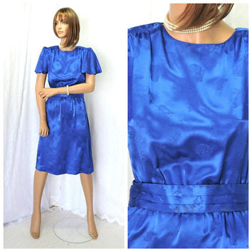 Blue silk secretary dress / size S / Vintage 70s secretary dress / Leslie Fay 1970s silk embossed mod retro career dress / USA union made