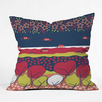 Raven Jumpo Matisse Inspired Flowers And Trees Throw Pillow