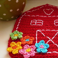 Crochet Red Barn - Crochet Coaster (1pc)