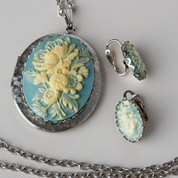 Vintage Blue Floral Cameo Locket and Clip Earring Silver Tone