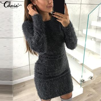 Celmia Women Sexy Bodycon Dress 2018 Autumn Winter Sweater Pullover Long Sleeve Faux Fur Stretch Casual Party Vestidos Plus Size