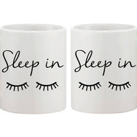 Cute Ceramic Coffee Mug Funny Morning Coffee Mug White 11oz - Sleep in