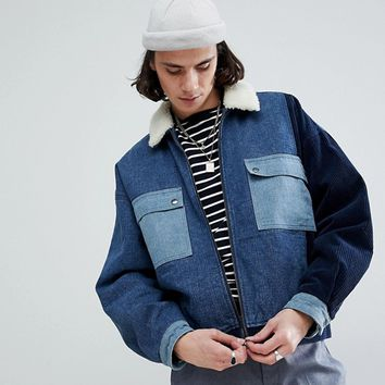 ASOS Borg Lined Denim Cord Jacket In Blue at asos.com
