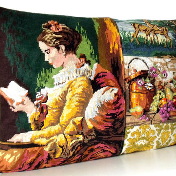 UNIQUE French Needlepoint Tapestry & Antique Linen Fragonard Still life Collage Pillow Cushion Coussin