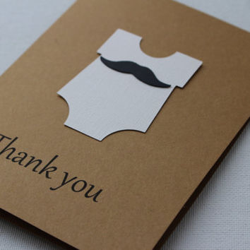 A set of 20 Onesuit Mustache Thank you cards ~ BLANK - Baby Shower, Little Man Party