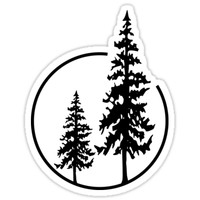 'Two Simple Trees in a Circle' Sticker by lawjfree
