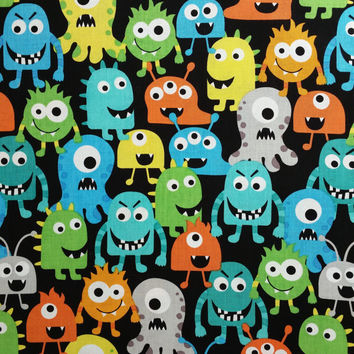 Cotton fabric, MONSTER PACK Black, by the yard, bright colors Fun Fabric for Creative Genius Projects