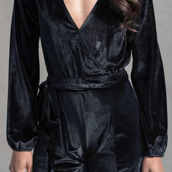 Sleek and Chic Velvet Romper
