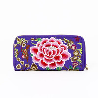 Floral Embroidery Zipper Wallet in Purple