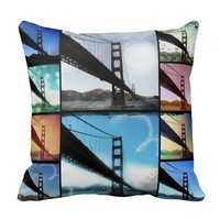 Blue Golden Gate Bridge Photo Collage Pillows