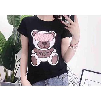 Moschino 2018 men and women couple limited edition summer new eye mask bear print T-shirt short sleeve F-XMCP-YC Black