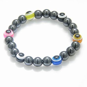 Evil Eye And Protection Magnetic Multicolor Hematite Bracelet