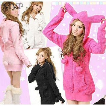 Cute Bunny Ears Hoodies Women Coat Jacket WarmFluffy Balls Fleece Sweatshirts Hoodies Winter Coat Women Bunny Hoodie 4 colors