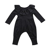 Newborn Infant Baby Girls Clothes Ruffle Collar Long Sleeve Romper Black Cute Clothing Baby Girl Outfits