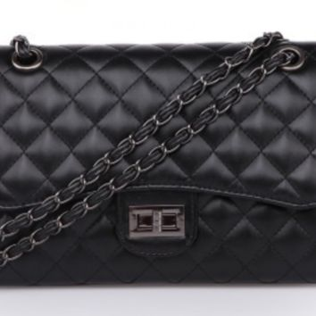 Quilted diamond patent leather shoulder bag