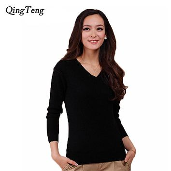 High Quality More Colors Autumn Winter 2015 NEW European Style Women Fashion Outwear Pullovers Knitted Cashmere Sweater Women