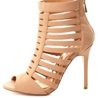 Super Strappy Caged Peep Toe Heels by Charlotte Russe - Blush