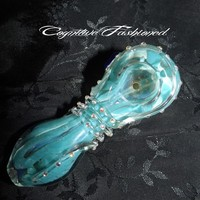 Blue Swirls and Color Changing Crystal Glass Hand Pipe