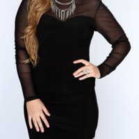 Plus Size Stand-Up Collar Long Sleeve Spliced Dress