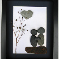 Unique Engagement Gift- Personalized Couple's Gift -  Pebble Art - Love Gifts