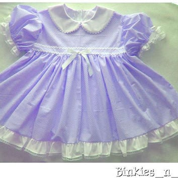 Adult Baby Sissy Littles ~ Blushy Baby ~ PURPLE Dress Set ~ Binkies n Bows