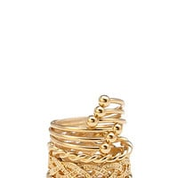 FOREVER 21 Stackable Midi Ring Set Gold 4