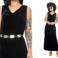 vintage 90s black velvet maxi dress minimalist soft grunge velour gothic witchy vamp cowl neck medium