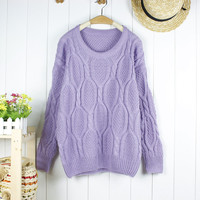 purple heavy cable sweater