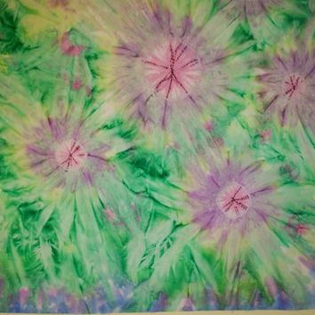 Hand Dyed Fabric - Shibori style - Heliographic Printing -  Lavender and Greens - Flower Power - Art Cloth - One Yard