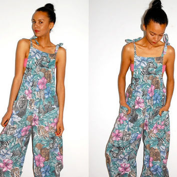 Vtg Safari Printed Slouchy Jumpsuit Romper with by LuluTresors