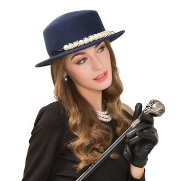British Style Royal Blue Felt With Pearl Design Hats