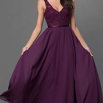 Low V-Neck Floor Length Mori Lee Dress