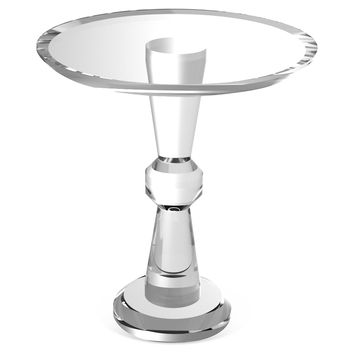 "Diabolo 18"" Round Side Table, Clear, Acrylic / Lucite, Standard Side Tables"
