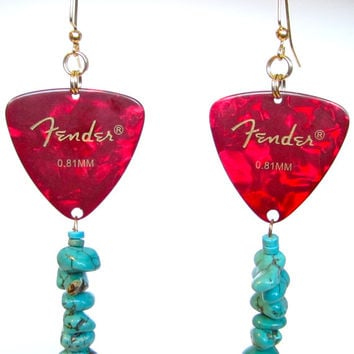 Cherry Red and Turquoise Fender Guitar Pick Earrings