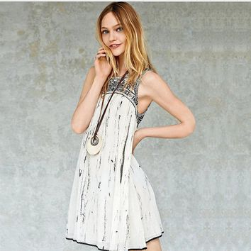 Free People Fashion Retro Embroidery Geometric Pattern Sleeveless Mini Dress