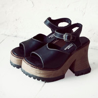 Vintage London Underground Black Leather and Wood Platform Wedge Strap Shoes 90s 80s Grunge Retro 8 7 womens