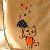 SALE kids organic messenger bag in raining rainbows by SewnNatural