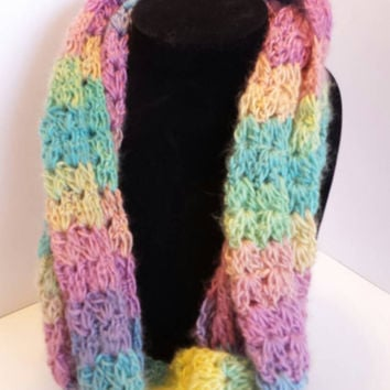 Handmade  Ready to ship! Crochet Multi-colored cluster V stitch infinity scarf!