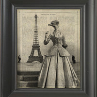 An Ostrich Dancing next to the eiffel tower  - Printed on Definitions of love page  -  250Gram paper.