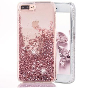 iPhone 7 Plus Case, Toposend Liquid Case Fashion Creative Design Flowing Liquid Floating Luxury Bling Glitter Beads Sparkle with Carved Rhinestone Diamond TPU Bumper for iPhone 7 Plus (Rose Gold)