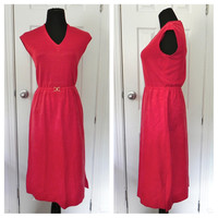 Vintage 1970s Red Sheer Dress // Sheer Knit Dress // Size Small