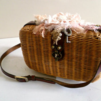 Vintage Etienne Aigner Basket Handbag. Rustic Shabby Woven Purse. Holiday Gift for Her. Handmade Bohemian Accessory. Woodland. Christmas